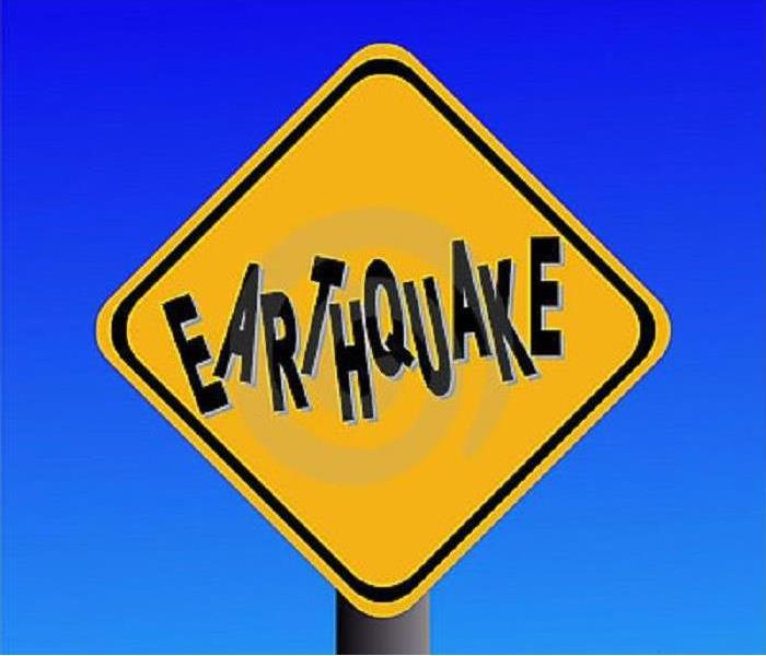 An Earthquake Caution sign